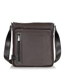 Dark Brown Leather Vertical Crossbody Bag - Chiarugi