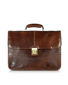 Large Brown Leather Briefcase - Chiarugi