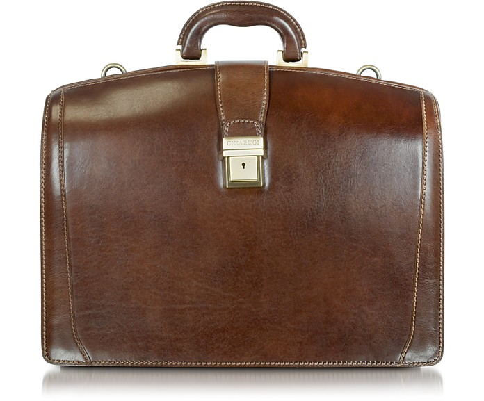 Brown Leather Buckled Diplomatic Briefcase - Chiarugi