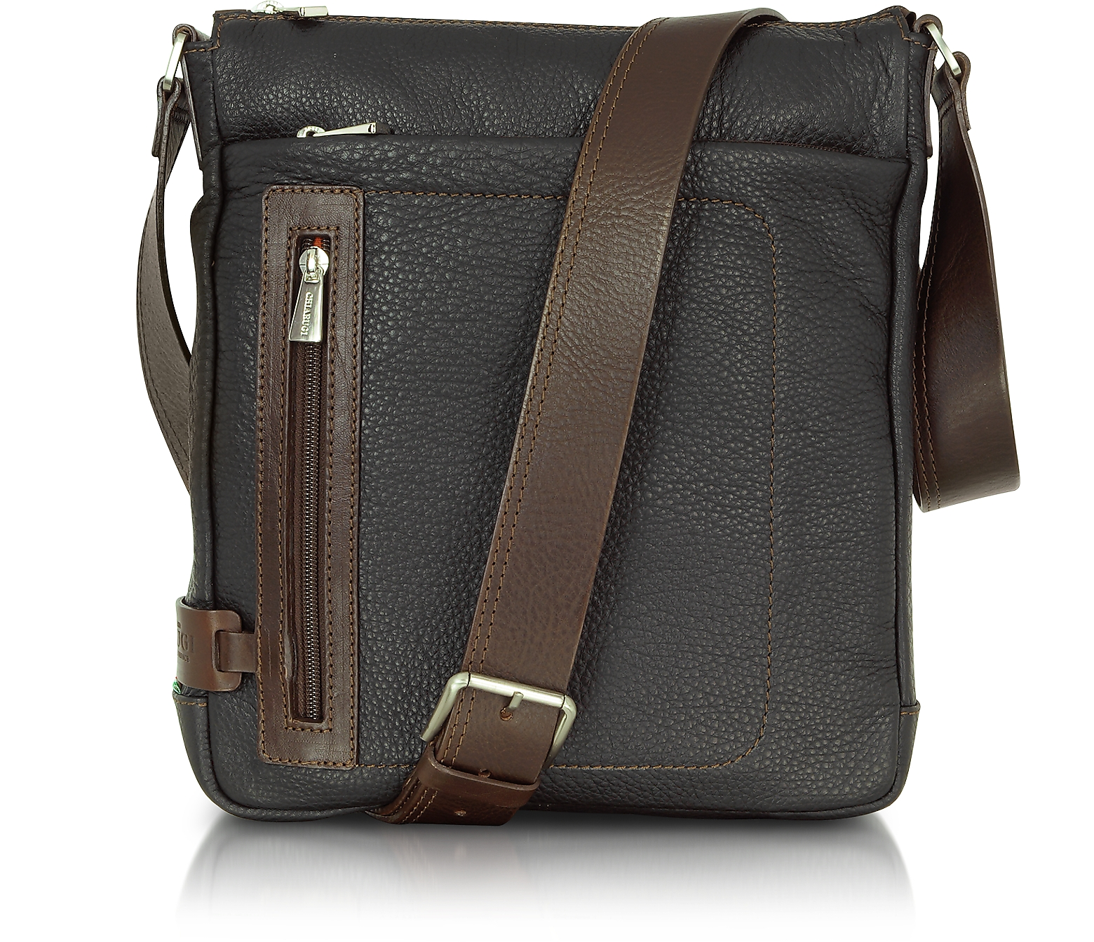 Black and Brown Leather Vertical Messenger