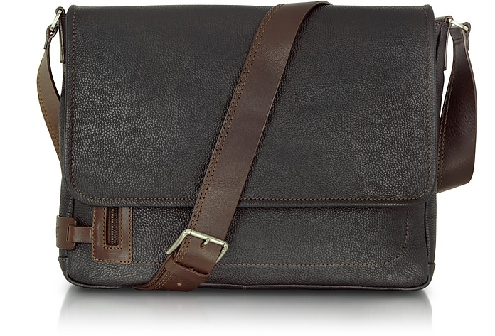 4b561c8a7652 Chiarugi Black Leather Messenger Bag at FORZIERI UK