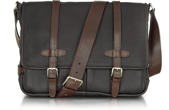 ee9b5488f014 Chiarugi Black and Brown Leather Messenger at FORZIERI UK