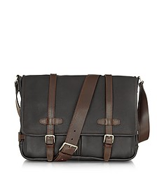 Black and Brown Leather Messenger - Chiarugi