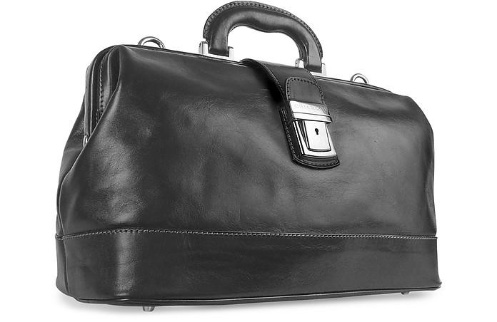 Arzttasche aus echtem italienischem Leder in schwarz - Chiarugi