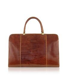 Handmade Brown Genuine Italian Leather Business Bag - Chiarugi