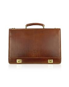 Handmade Brown Genuine Italian Leather Multi-pocket Briefcase - Chiarugi