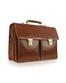 Handmade Brown Genuine Italian Leather Briefcase - Chiarugi