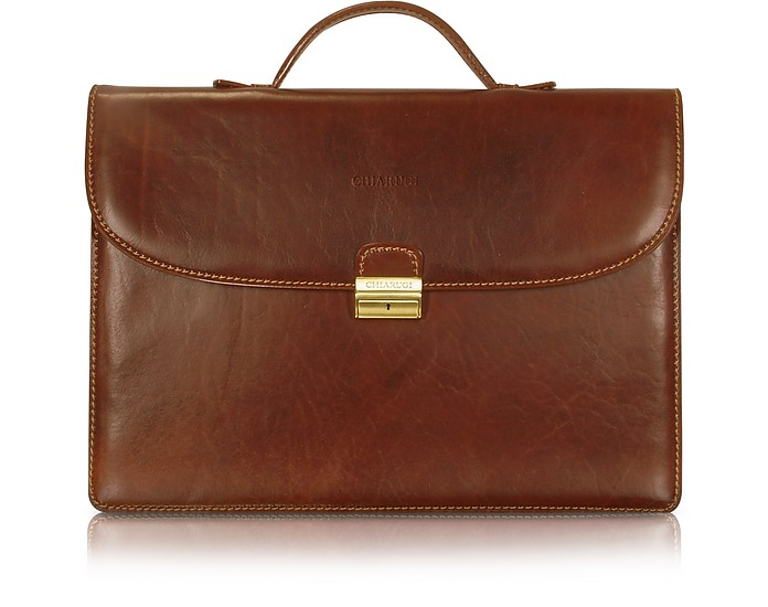 Men's Handmade Brown Leather Single Gusset Briefcase - Chiarugi