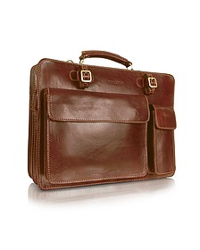 Handmade Brown Genuine Leather Double Gusset Briefcase - Chiarugi
