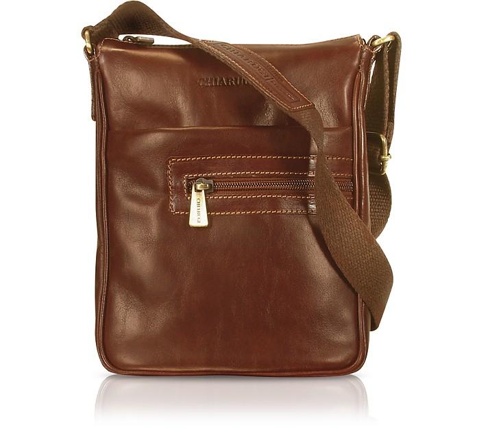 Handgearbeitete Cross-Body-Tasche aus braunem Leder - Chiarugi