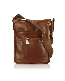 Handmade Brown Genuine Leather Vertical Cross-Body Bag - Chiarugi