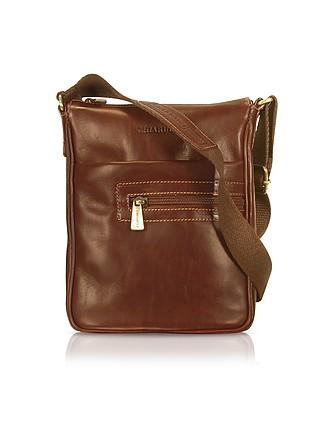 81df07a93d3b Handmade Brown Genuine Leather Vertical Cross-Body Bag - Chiarugi