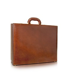 Men's Handmade Brown Leather Attache Briefcase - Chiarugi