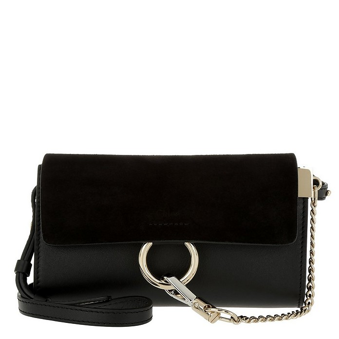 Faye Wallet On Strap Suede Black - Chloe