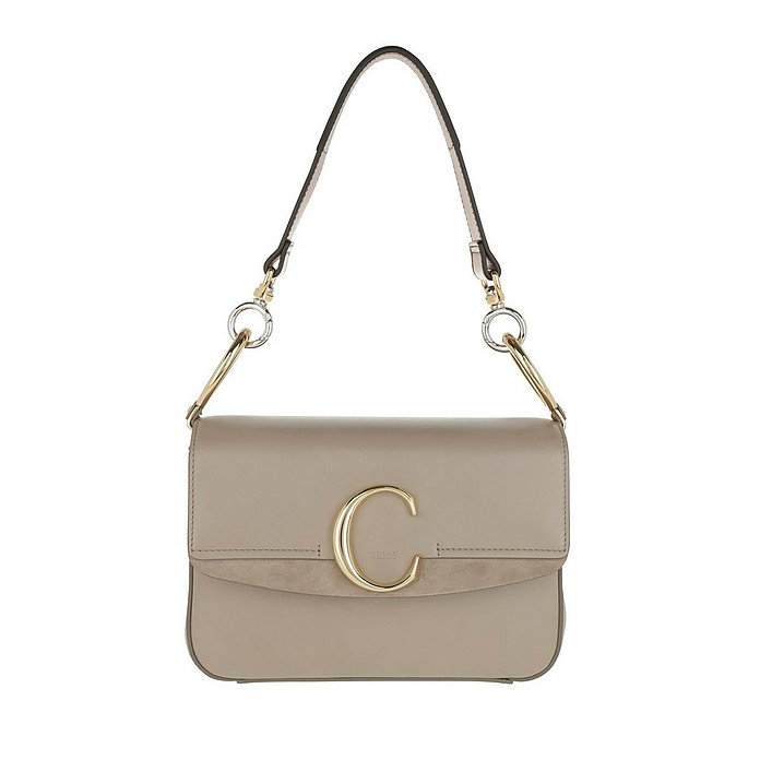 Double Carry Small Shoulder Bag Leather Motty Grey - Chloe