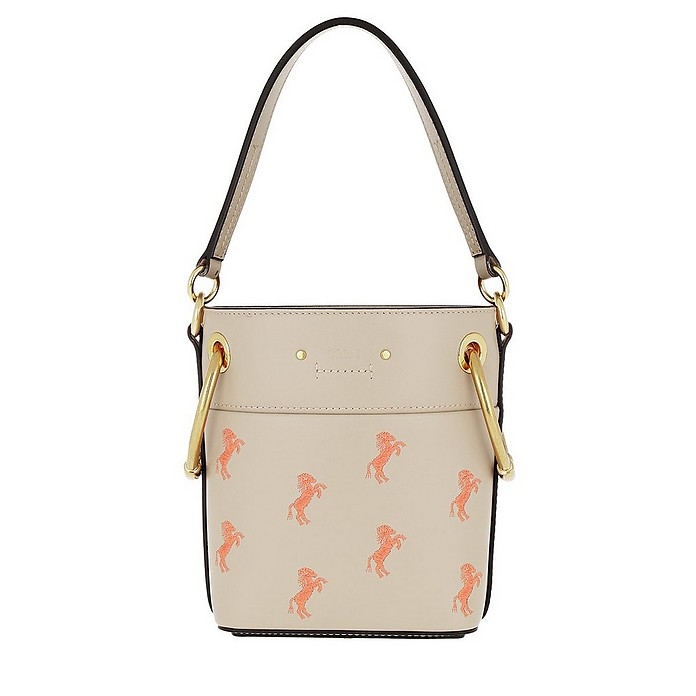 Mini Bucket Bag Embroidery Calfskin Pastel Grey - Chloe