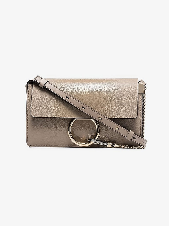 Grey Faye small leather shoulder bag - Chloé