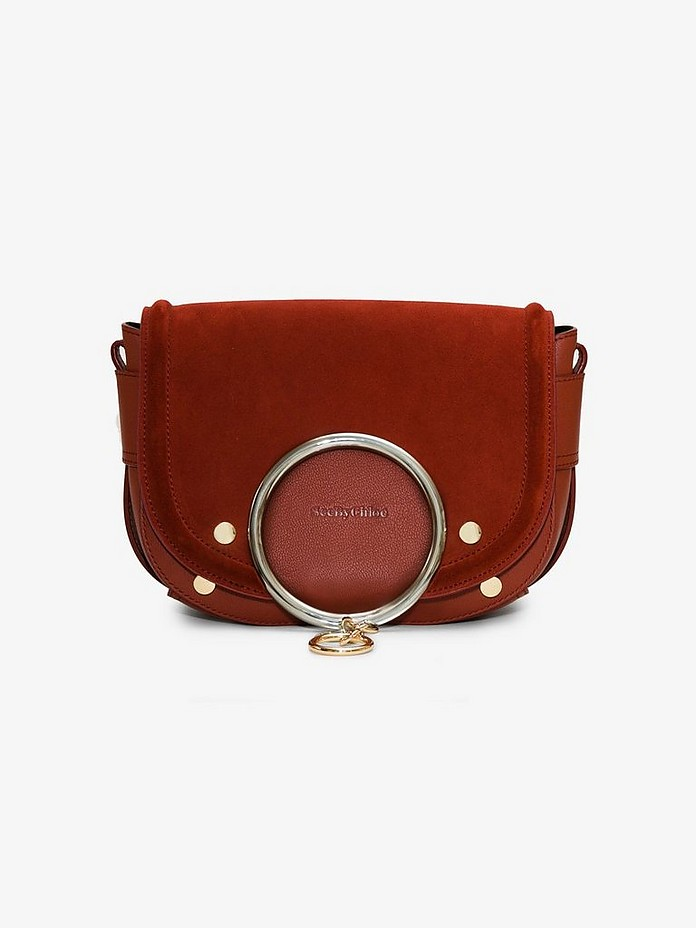 See By  Red suede and leather cross body ring bag - Chloé