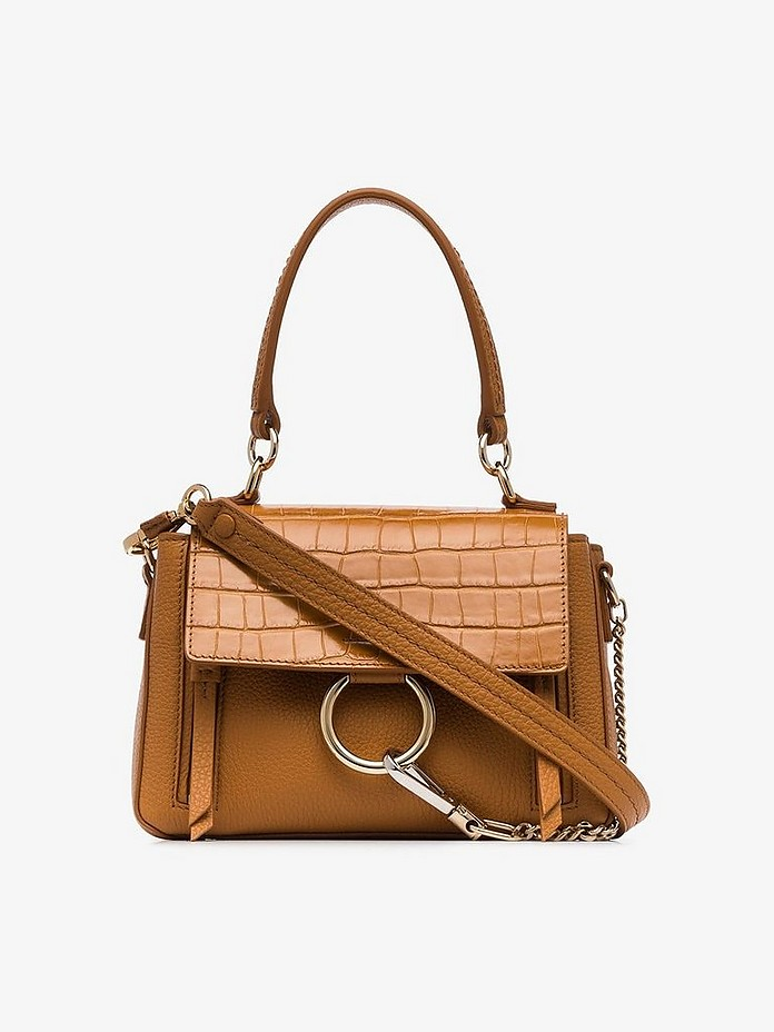 Brown Faye small mock croc leather shoulder bag - Chloe / クロエ