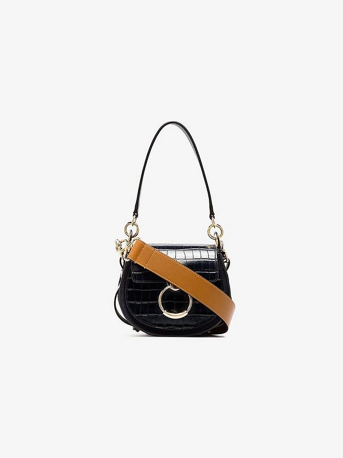 Blue Tess small mock croc leather shoulder bag - Chloé