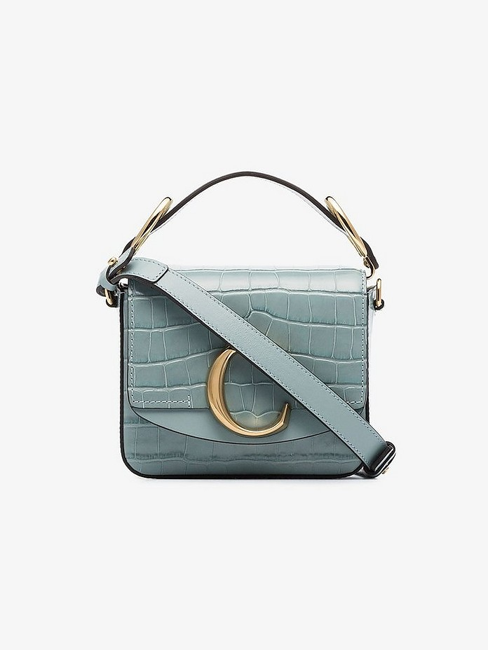 Blue mini  C croc effect bag - Chloé