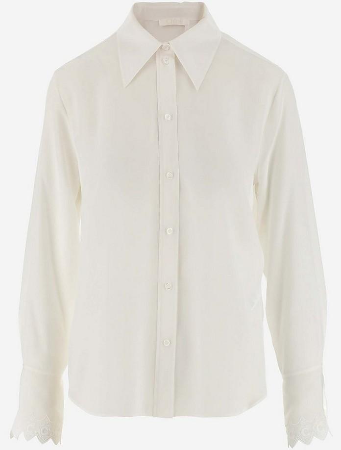 White Silk Women's Casual Shirt - Chloe / クロエ
