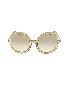 JAYME CE 708S 272 Light Brown Acetate and Gold Metal Round Women's Sunglasses - Chloe