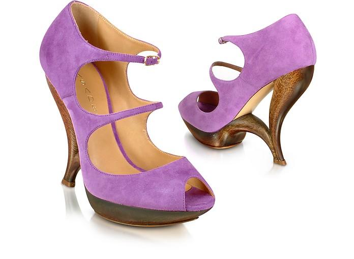 Purple Suede Peep Toe Strappy Shoes - Casadei