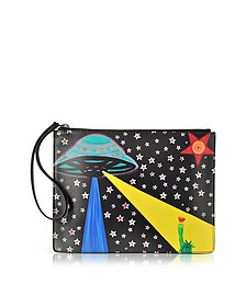 Night Print Leather Clutch - Christopher Kane