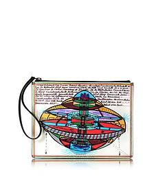 Ufo Print Leather Clutch - Christopher Kane