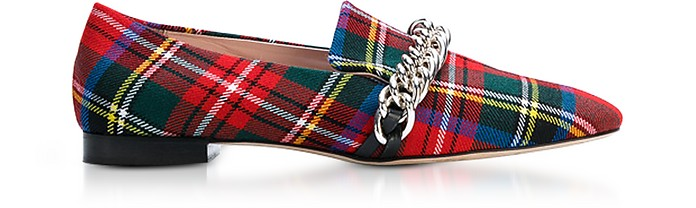 Red Tartan Chain Loafer - Christopher Kane