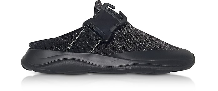 Tonal Black & Silver Fabric Slide Sneaker - Christopher Kane