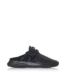 Tonal Black & Silver Fabric Slide Sneaker - Christopher Kane