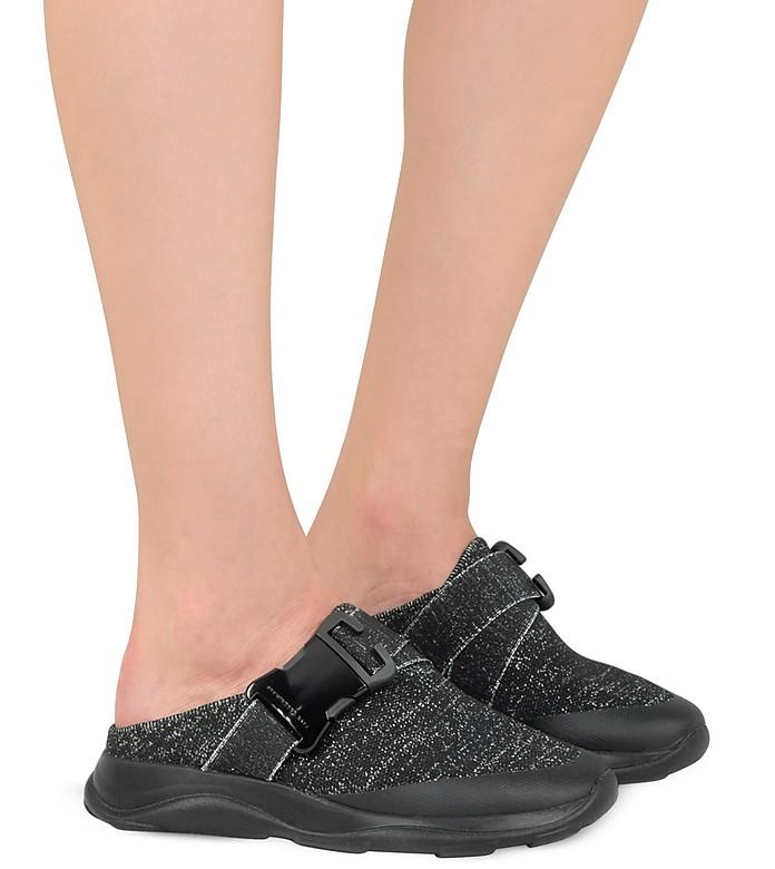 good texture reasonably priced pretty cool Tonal Black & Silver Fabric Slide Sneaker