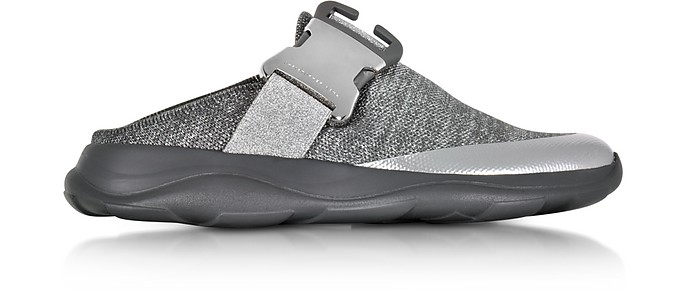 Tonal Grey & Silver Fabric Slide Sneaker - Christopher Kane