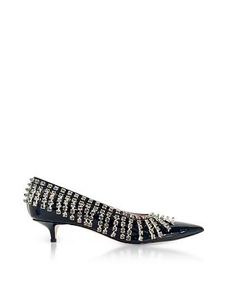 Christopher Kane Designer Shoes, Crystal Fringes Patent Leather Mid-Heel Pumps