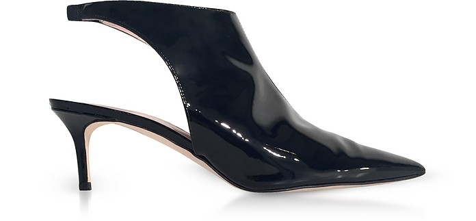 Black Patent Leather Open Back Booties - Christopher Kane / クリストファー ケイン