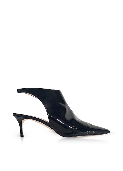 Black Patent Leather Open Back Booties - Christopher Kane