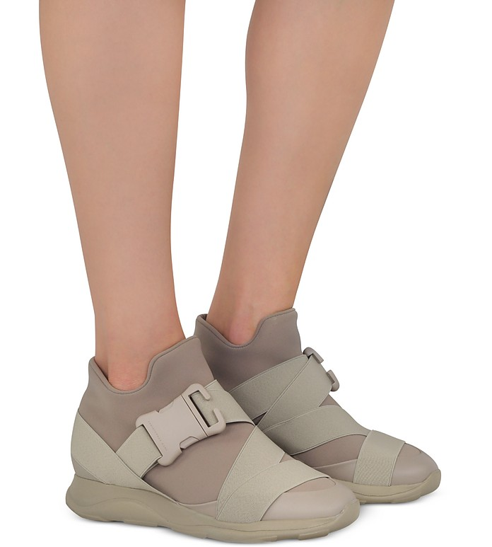Christopher Kane Designer Shoes, Putty Neoprene High Top Women's Sneakers