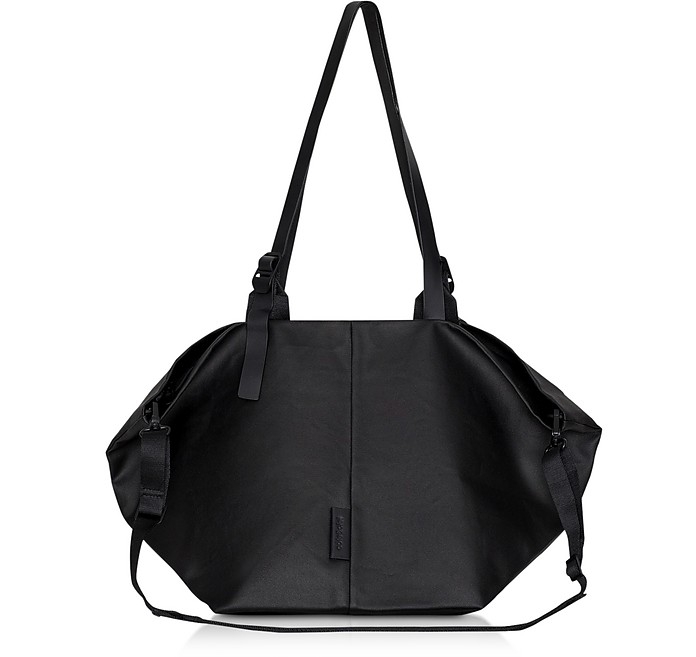 Coated Canvas Black Amu Oversized Tote Bag - Côte&Ciel