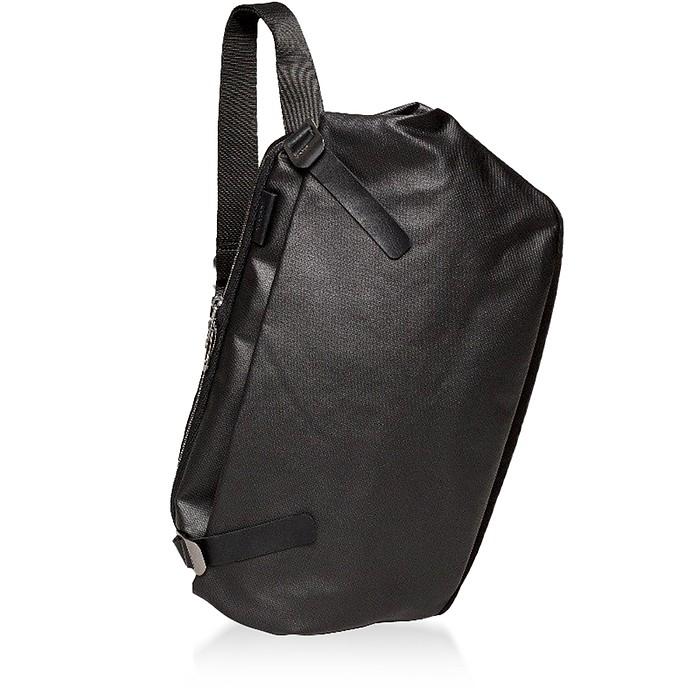 Black Riss Coated Canvas One Shoulder Backpack - Côte&Ciel