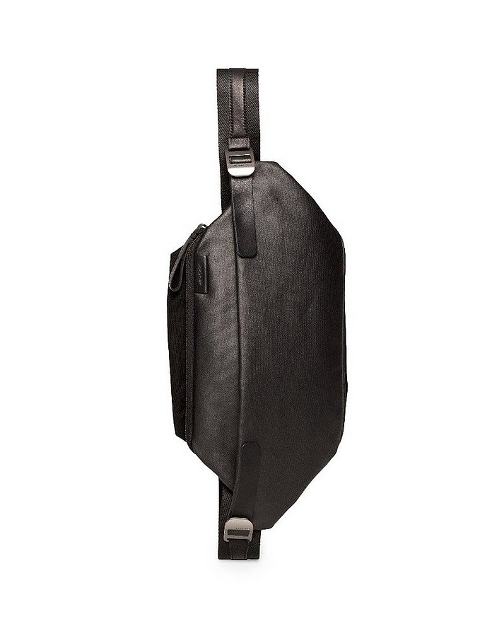 Black Isarau Coated Canvas One-Shoulder Backpack - Côte&Ciel