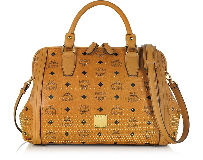 Gold Visetos Boston Medium Satchel - MCM