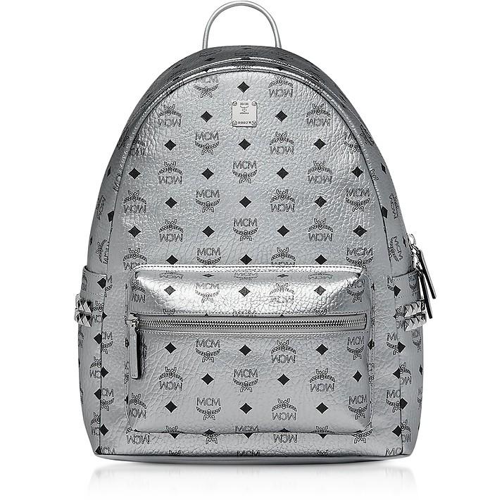 Berlin Silver Side Studs Visetos Stark Backpack 40 - MCM