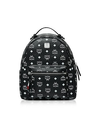 bc0e651b8db6 Black Stark Backpack w White Logo Visetos 32 - MCM