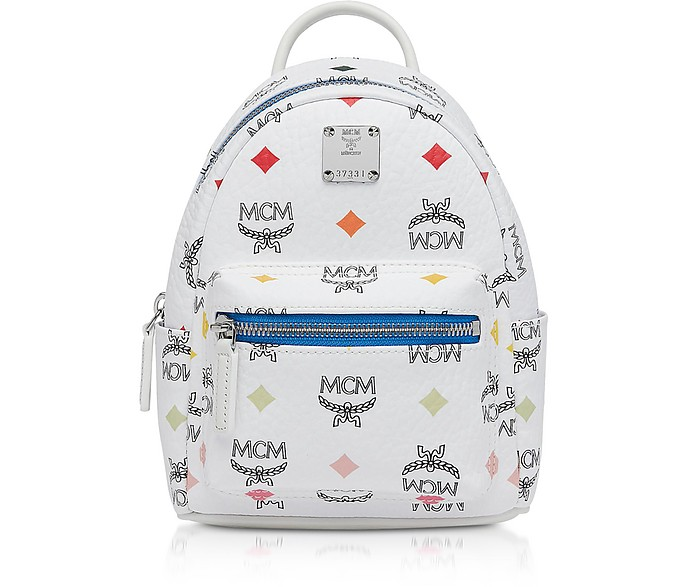 White Skyoptic Visetos Stark Bebe Boo Backpack  - MCM