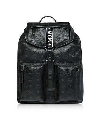 db8f7af2a30c Black Visetos Raymonde Two Pocket Medium Backpack - MCM