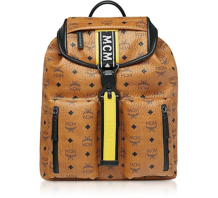 Cognac Visetos Raymonde Two Pocket Small Backpack  - MCM
