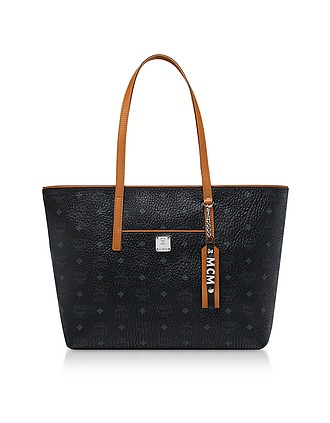 392be11102 Black Visetos Anya Top Zip Shopping Bag - MCM