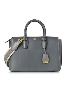 Milla Phantom Grey Leather Medium Tote - MCM
